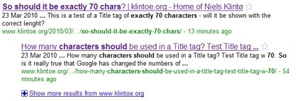 Title tags 70 can be characters